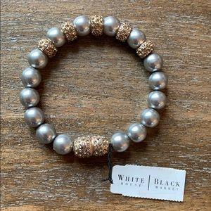 NWOT White House Black Market bracelet grey pearl
